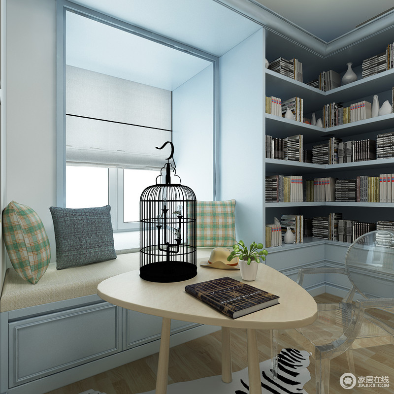 书房的另一个区域,巧妙利用空间做成了飘窗的设计,既增加了实用性,又可以充当卡座,与旁侧的原木三角几,颇为清和。