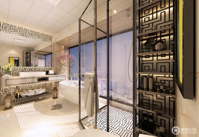 卫生间线条利落,结构规整,落地窗充足地采光让空间更为通透;从盥洗区的墙面、淋浴室地面到收纳区立面用以回字纹中式元素的材料来作铺贴,足显东方时尚;金属大理石盥洗柜简洁时尚,与黑色置物架演绎黑白时尚和材质之美,让人如沐春风,格外惬意。