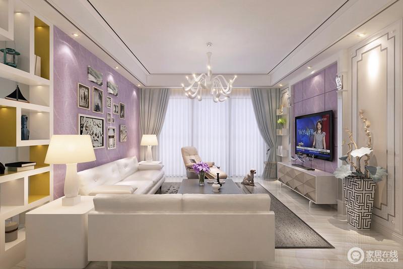 客厅电视背景以紫色营造梦幻感,左右木作除了本身的珍珠白色,在木柱端头局部运用了银色漆,提亮视觉触感,渲染雅致;利用墙面做了置物格搭配落地几何储物柜,张扬实用主义之余,也让空间多了几何之美;白色系沙发搭配边柜和台灯足显质感和纯净,而灰色地毯、黑白回字纹花瓶,营造了生活的宁静和安适。