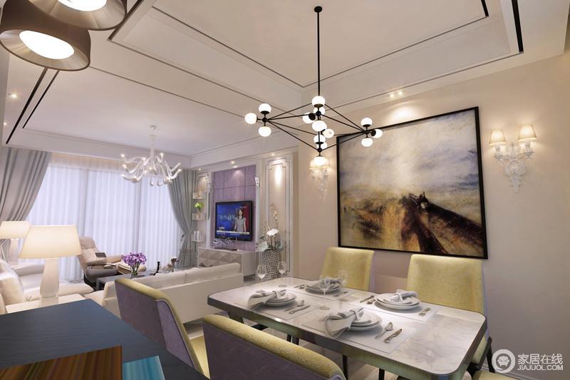 客餐厅一体式设计,增加了生活的自由度,但是动线分区,足够让空间不显拥挤;墙面欧式壁灯搭配铁艺球泡灯,裹挟着不同的设计元素,让空间十分明快,选用麦田抽象画,色彩上力求沉稳舒适的感觉,让屋主在与家人或朋友共进晚餐时可以静下心细细品尝美食的幸福,与彩色餐椅和餐桌打造了温馨的就餐氛围。