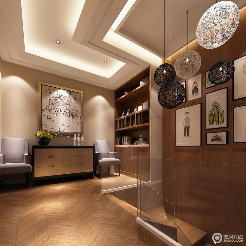 书房轻松的壁画以及张扬的圆形吊灯带来艺术和时尚,空间中采用大量的板材来装饰地板与墙面,无形中渲染了一份自然的朴质;个性的锥形吊顶搭配灯带,强化了空间的几何之美,带来一种动律,书柜和边柜以实用、别致,与淡紫色的扶手椅、挂画,酿造生活的文艺端庄,满是惬意。