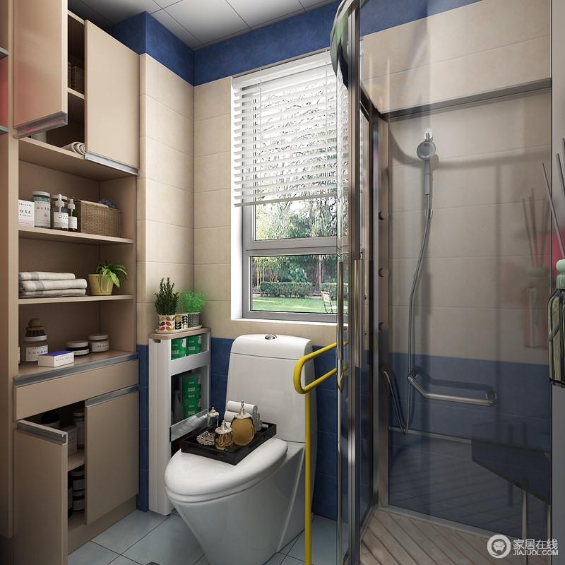 利用了马桶与墙体间的空隙可放置马桶置物架放置如卫生纸、洗衣粉等一些常用备品,等等。而马桶置物架占用空间率几乎为零。