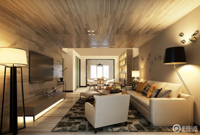客厅因为吊灯多了木质感,背景墙与其形成一个整体,简单朴质,电视台小巧省空间,而现代沙发组合足够气派,也足够大气。