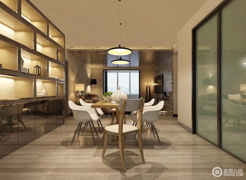 发餐厅与客厅通过动线和走廊做了分离,但是开放式设计更是具有互动性,而餐厅与厨房通过玻璃门做到了独立;几何储物柜因为内藏灯的设计更显立体,北欧餐桌组合,让空间更显时尚和简单。
