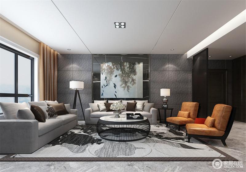 客厅以不同的灰色来平衡空间的层次,深色的背景墙搭配浅灰色花纹地毯,赋予空间中式的素雅;沙发组合简洁而舒适,两个落地灯调解着和谐,让主人享受生活的质感。