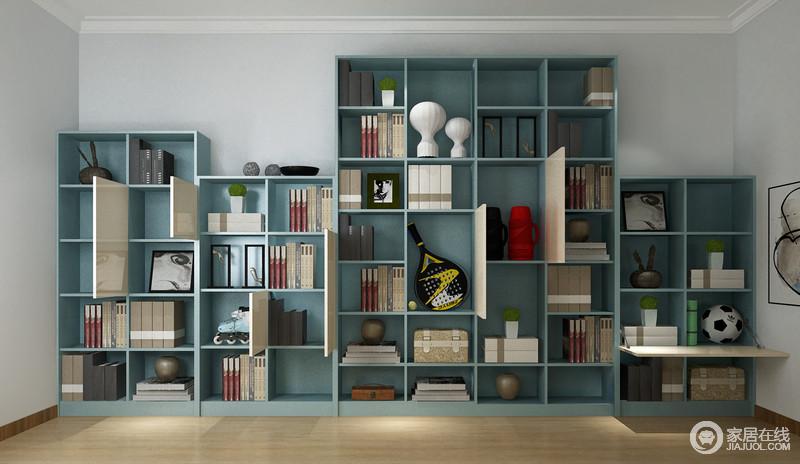 书柜以功能为主,原木地板自然朴素,而蓝色板材定制的格子状书柜实现了有序地收纳,让生活更分类明确。