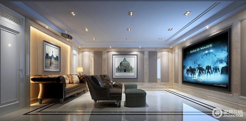 影音室的吊顶平直化设计因为射灯而多了星瀚之光,大理石与灰色漆让整个空间具有了古典风范;平整的设计布置得十分有序,美式沙发和扶手椅组合的舒适带你体验一场观影的乐趣。