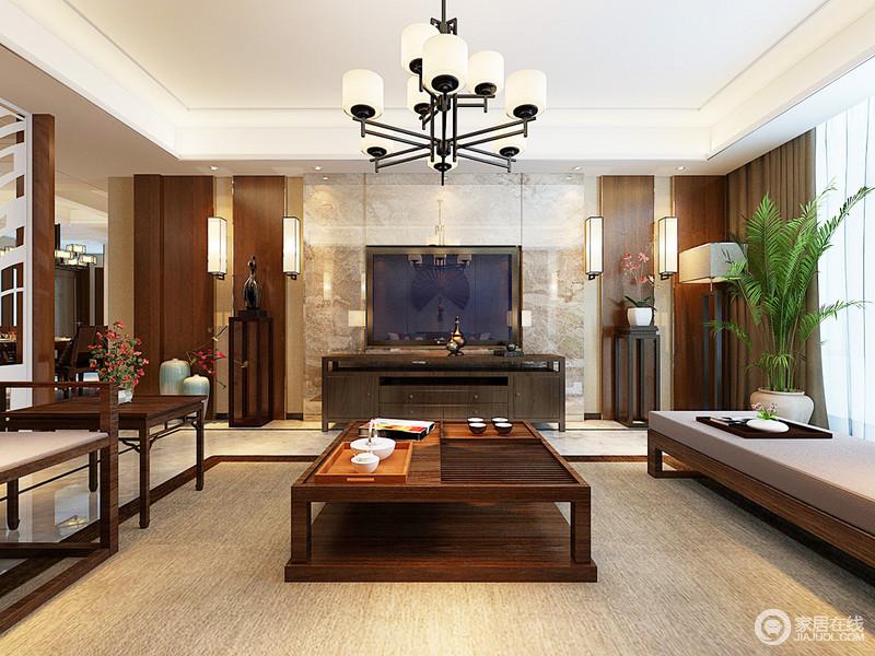 客厅的吊顶简单,白色矩形的石膏搭配大理石与木材打造得背景墙,演绎材质魅力;麻制得地毯搭配新中式家具的考究,朴素之中,构成沉稳。
