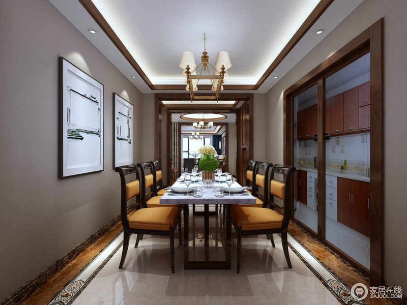 餐厅与厨房相连,通过玻璃推拉门分隔;浅灰色的背景墙上,水墨江南景画浅浅淡淡的呼应着白色大理石桌面,纯粹的白色愈加显得黑橘黄色餐椅的鲜亮时尚,空间在色彩的层次交织下,会古通今的轻贵高雅风尚的呈现。