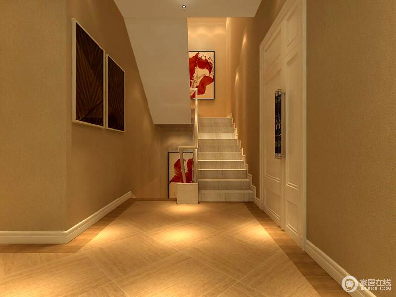 楼梯转角利用红色肖像画来增加空间的人心,减少空阔空间带来的冷清感。