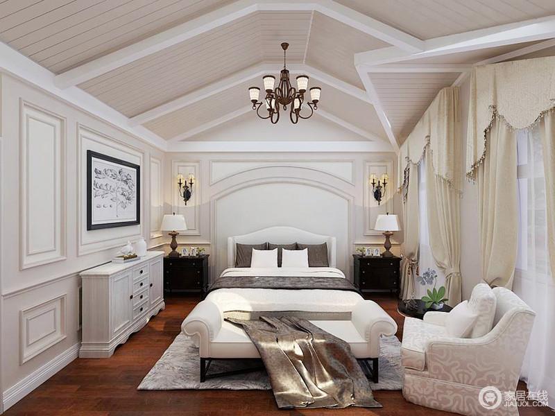 主卧以白色为主,人字形吊顶增加了空间的挑高,更为空阔,而圆拱、矩形墙面的设计足显复古;以对称为主的陈列方式十分大气,搭配美式边柜、布艺沙发赋予空间中性温和,让空间大气,也带来舒适温馨感。