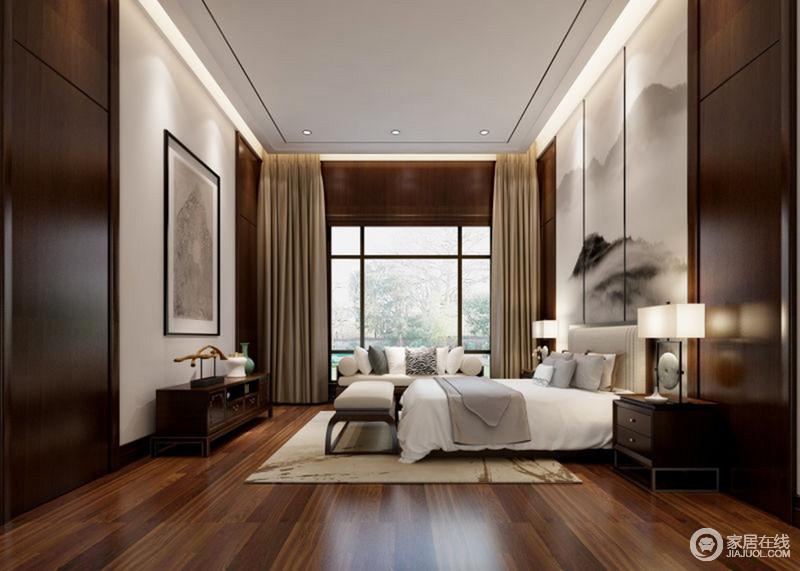 实木打造的空间中你会感受到中式古韵的流动,处处让现代之境变得愈加厚重;山墨幽静朦胧的背景墙与白色等浅色床品、沙发、床尾凳与实木家具的深厚结合,转而与新中式台灯、摆件谱写着清逸。