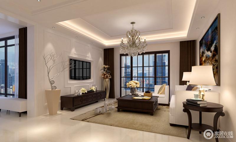 客厅的电视墙通过几何勾勒简单,电视嵌入其中,表现出一种现代大气,黑白之间呈现纯粹;现代美式实木家具带着稳重和质感,让白色调的空间少了轻浮,水晶灯和白色沙发呼应出温和,温润中多了舒适感。