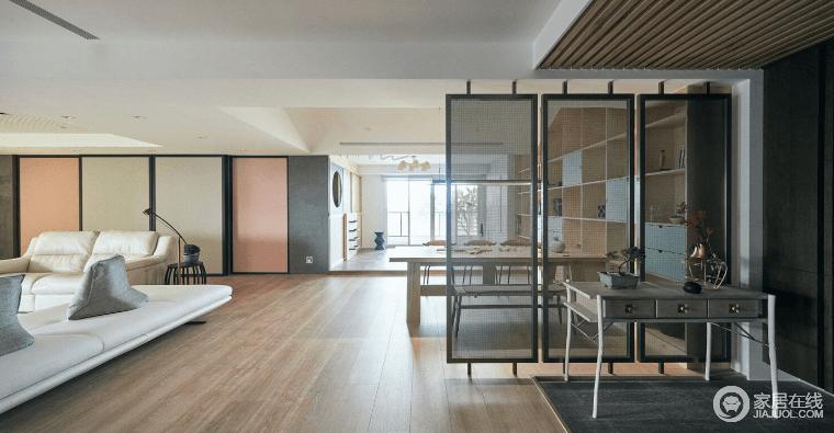 """应用""""共享机能""""的手法,赋予小空间宽阔的生活感,瞄准本案有足够的宽敞度,便大刀阔斧地区分机能性,赋予明确的客厅、餐桌、吧台、书桌与休闲和室,卧榻垫高十公分,丰富行动体感,可谓开放空间放纵了生活的自由。"""