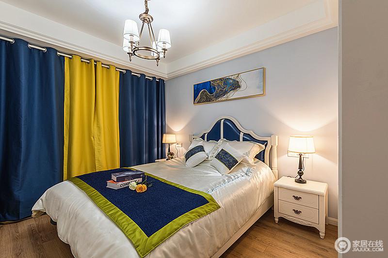 卧室以浅色为主,搭配美式家具,可谓足够高雅、清新,而黄色和蓝色撞色的设计气韵不凡,给予空间色彩的魔幻,动静之中,让主人感受到温馨。