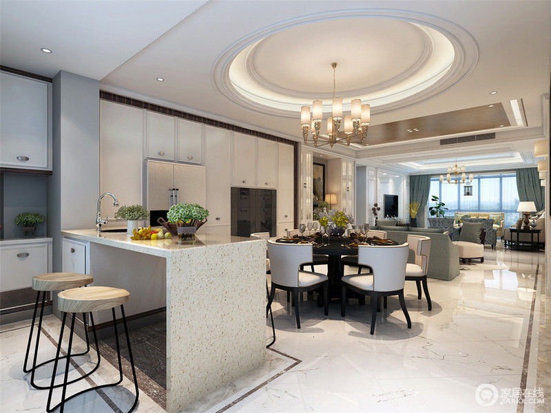 任由光线从客厅自由穿梭至吧台,动线的复杂化与完善的理性思考,满足不同生活空间相互联系时的便捷性和相应独立性的要求,勾勒出整个通透空间的基本性格。