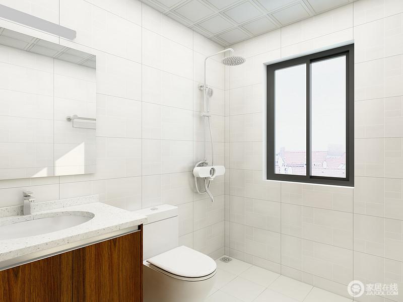 卫生间以功能性为主,白色砖石铺贴出干净和落,盥洗柜与镜面提升了实用性,更为简单。