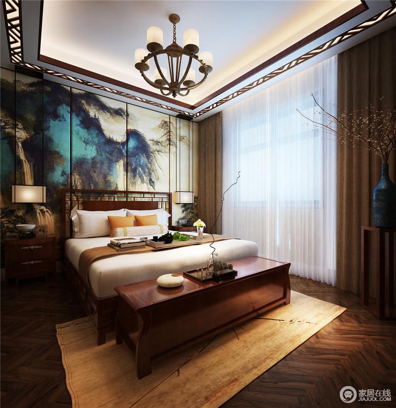 卧室以温馨和舒适为主,但是通过原木地板和实木家具的搭配,奠定了稳重的气息;中式实木家具少了厚重感,转而以镂空的设计搭配新中式台灯,让主人可以体验自然优雅,让心灵回归质朴和宁静。