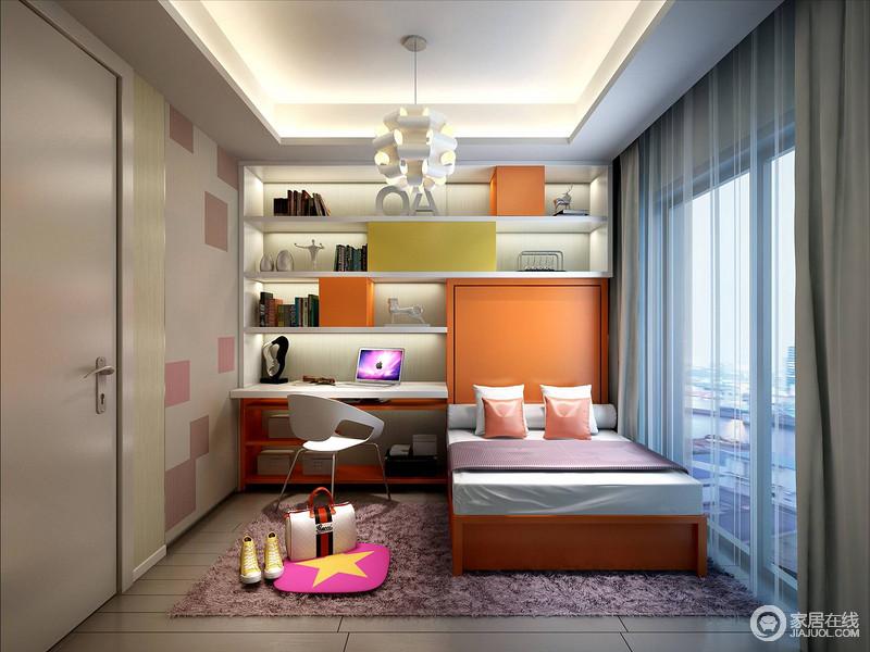 设计师巧妙地将书柜与床头连为一起,极大地节省了空间,在橙色调的渲染中难掩活力与朝气;吊灯将长度相同的圆柱焊接在一起,组成新的造型,带来时髦。