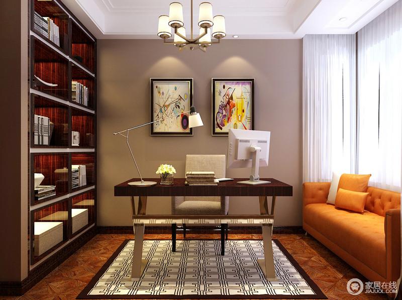书房延续了餐厅的色彩,以棕红和橙黄为主色调,复古中彰显时髦热情。书桌与单人椅分别与书架、背景墙形成呼应。书桌局部使用的金属材质,质感轻奢。