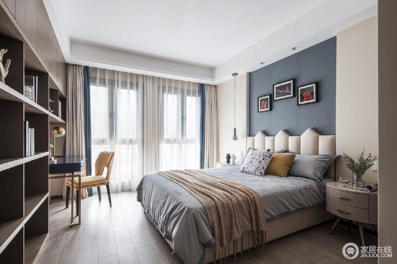 现代风格外形简洁、功能强,强调室内空间形态和物件的单一性、抽象性,蓝白设计的组合,在家具和饰品的组合中,更显优雅、温馨。