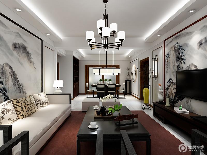 空间结构方正规整,吊灯也打造得十分简单,并借灯带来突出一种线性之美;两个背景墙以对称的形式来突出中式艺术讲究得灰墨素雅,搭配实用家具赋予空间内蕴和质感。