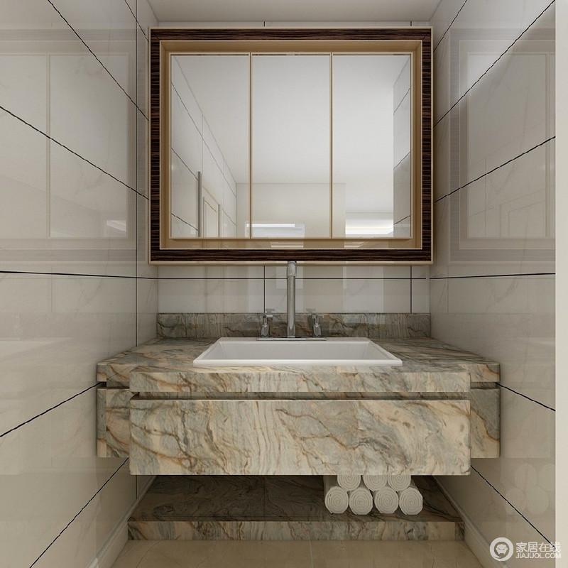 卫生间体现的不是放弃原有建筑空间的规矩和朴实,去对建筑载体进行任意装饰,而是在设计上更加强调功能,强调结构和形式的完整,更追求材料、技术、空间的表现深度与精确,正如这个盥洗台一样,以材质与肌理来体现美学,同时,让盥洗也更为与众不同。