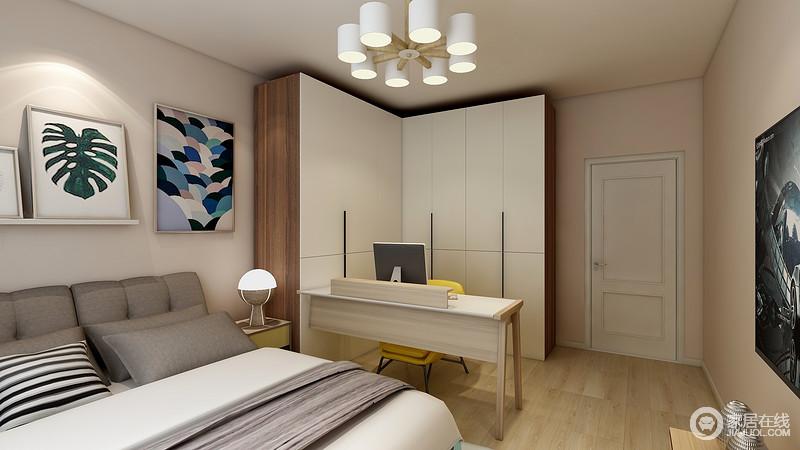 卧室虽然不大,但是设计师以功能将空间简单做了区分,并通过动线自然分区,丝毫不显得拥挤;衣柜和书桌构成的学习区之外,也实现了储物性,休息区借素色的床品来营造沉静感,给主人一个安谧的天地。