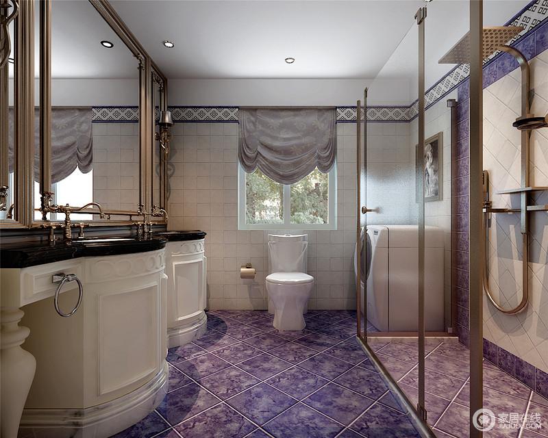 贵气的紫色极具视感,与浅驼色的墙砖交织混搭,演绎出卫浴空间氛围的冷艳高雅;金属材质在浴室镜、水头龙及淋浴区的使用,彰显沉静奢贵;弧形雕花盥洗台,延续了空间的典雅欧式韵味。