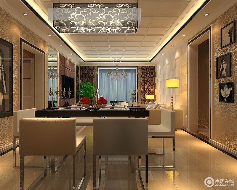 餐厅区内张贴了棕黄色银线壁纸,搭配灯光设计,构成了空间的昏黄和沉静;中式元素的玻璃矩形吊灯雕刻着东方艺术,搭配现代金属底座的餐椅,让生活更为得体和简洁。