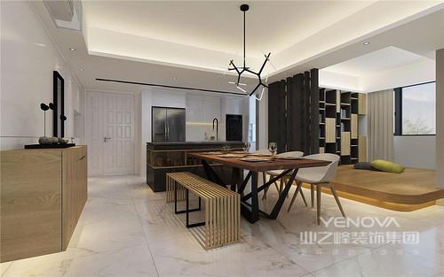 餐厅设计不再循规蹈矩,而是以开放式的设计,将用餐区与休息区作为互动,木柱屏风巧妙分隔,带来现在设计的庄重;木色餐桌、白色的餐椅,加上木条板凳,组合出北欧与简约格调,管式吊灯更是带来了灵动,与吧台的设计以实用成就生活的质感。