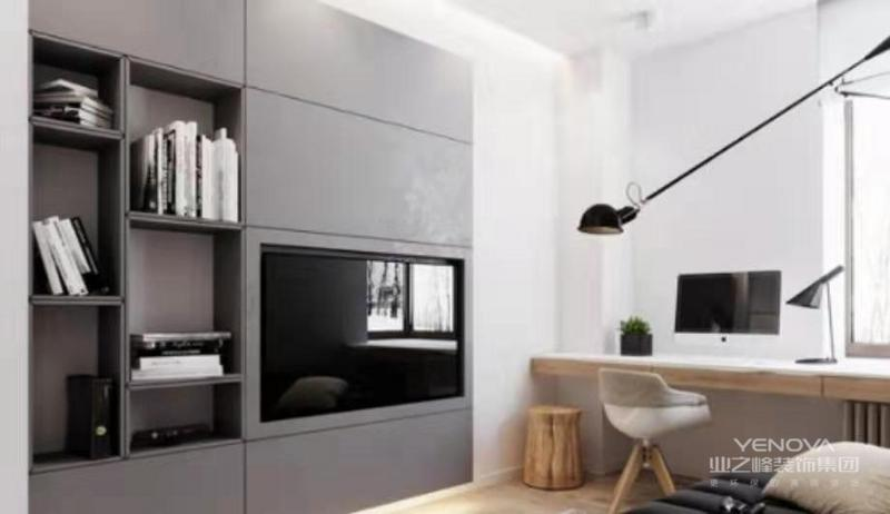 沙发后侧水泥墙隐藏一道暗门,直通主卧,巧妙的设计,让客厅空间达到最大化利用