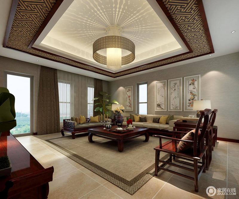 客厅现代利落的线条,搭配灰色调的氛围,让空间足够素静,中国画的装饰,缓解了深灰色布艺沙发、地毯的暗沉,裹挟着中式圈椅,延续东方大气。