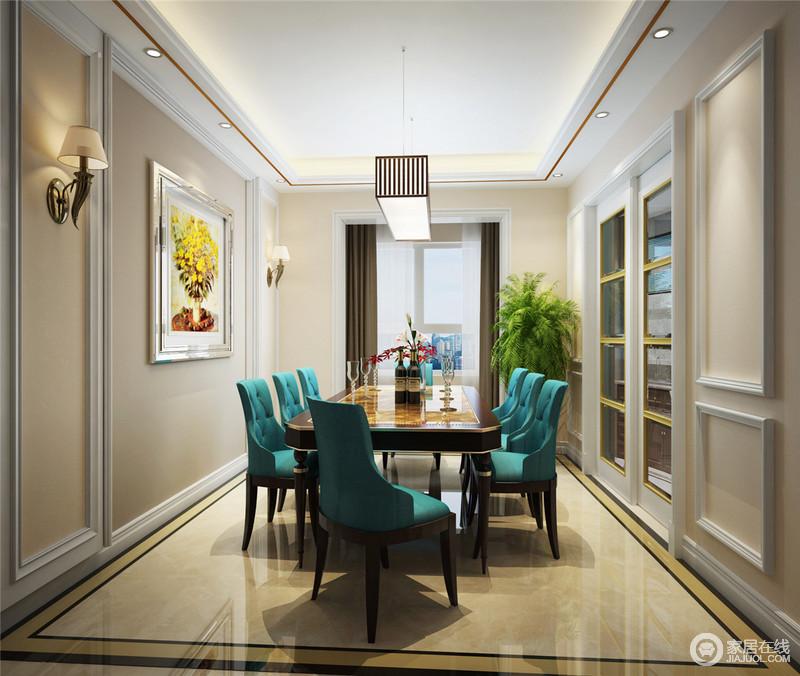 在膏线勾勒的餐厅里吸睛亮目当属孔雀蓝软包餐椅,透着雅致华贵的气质。厚重的实木餐桌边缘镶嵌着香槟色金线,与地板拼花形成呼应。角落的绿植与挂画营造出几分自然意味。