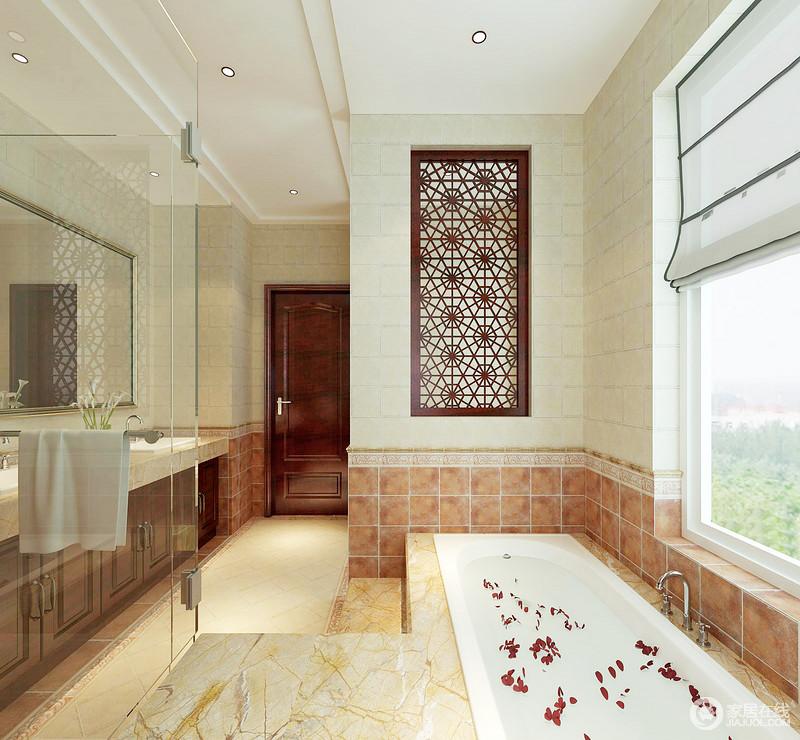 卫生间足够宽敞,砖石上的选择营造了一种温暖,让沐浴也不再冷;中式窗棂元素的融入,无疑为生活带来了东方艺术的别致,可选择的沐浴方式,让主人更为舒适。