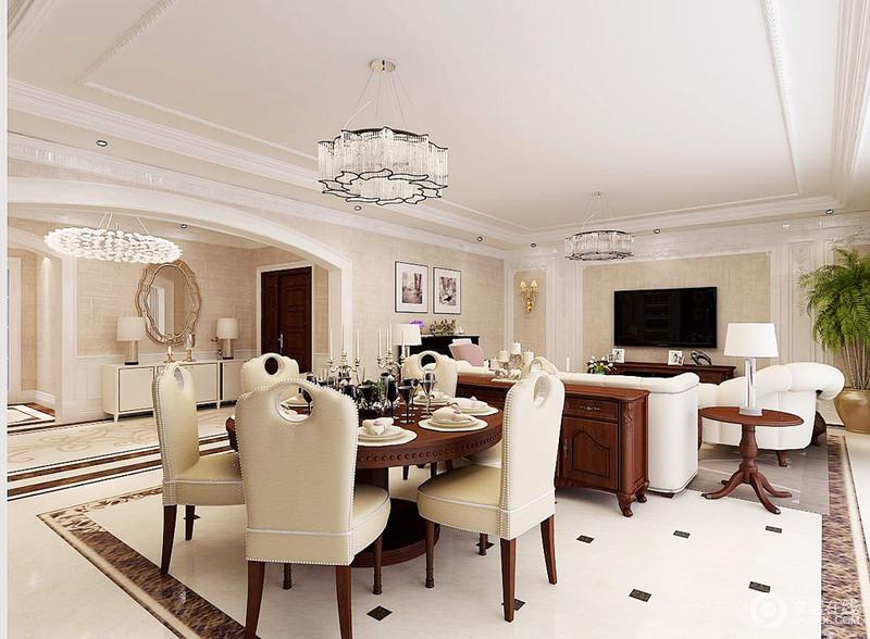 餐厅以开放式的设计吸纳着空间的艺术元素,不管是方拱形门框,还是水晶灯饰,烘托出了家的别具一格;美式实木桌分布在餐厅和休息区,而美式铆钉餐椅以质感和色彩,点缀出家的华贵。