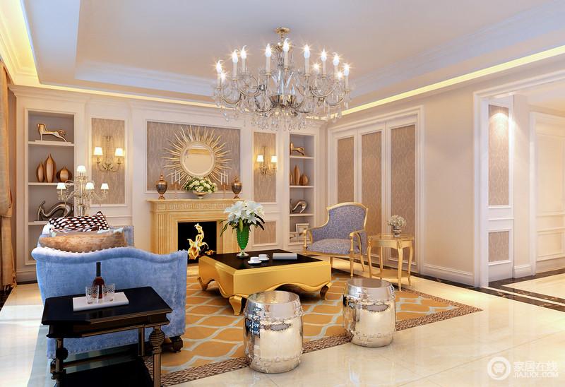 客厅的背景墙在原有壁炉的基础上,利用壁纸和石膏打造了几何的样式,具有法式复古风;置物架上的艺术品成对出现,双双成趣,渲染了浓重的艺术气息,而橙色地毯、茶几和蓝色沙发形成跳跃色的反差,却裹挟着银色坐凳和黑色边桌,打造了一个魅力和奢贵的生活空间。