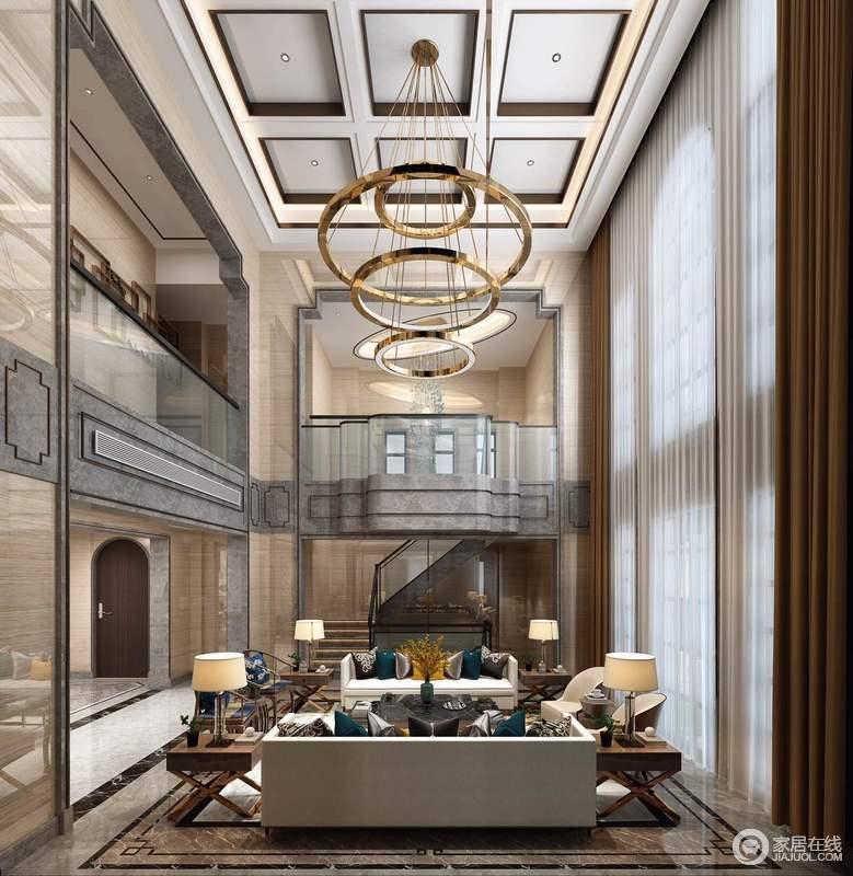 客厅因为空间自有的挑高构成一种格局感,原本矩形的吊顶因为圆形吊灯更富变化与立体;驼色窗帘与白色纱幔一泻而下,气势不凡,与空间中陈列得体,讲究地加建凸显了繁美与壮丽,又在衔接各个空间的过道、门厅等,增强线条在风格中起到的作用,同时让新中式更有气势。