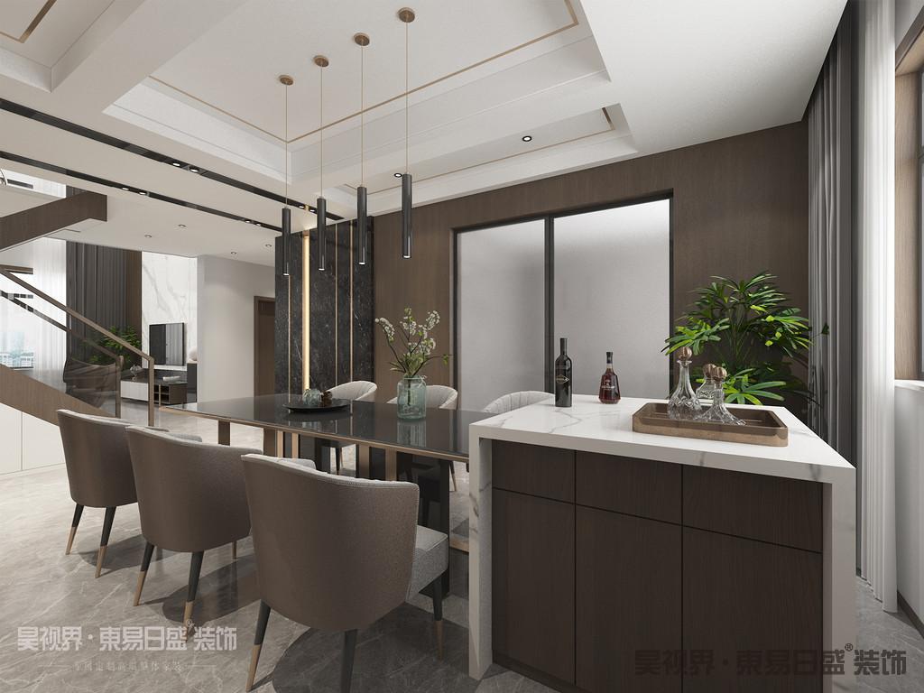 比起客厅,餐厅或许更能代表「一个家的温度」。它不仅是你的能量补充站,更是家人之间的生活情感沟通所。本案独特的吊灯设计,搭配富有艺术气息的餐桌椅,营造了时尚温馨的用餐空间。