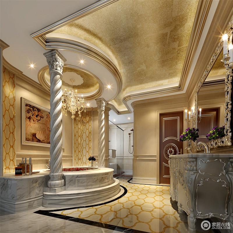 柱的设计也很有讲究,可以设计成典型的方形罗马柱造型,使整体空间具有更强烈的西方传统审美气息。