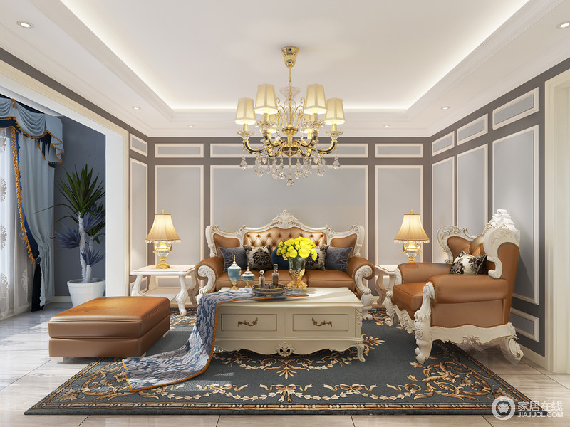 客厅的墙面以蓝色为主,局部用灰色线条做勾勒,以几何的造型将低调的气质展现的淋漓尽致;白色木雕沙发因为咖色皮质更显得富贵,搭配欧式吊灯和墨绿色地毯,既让空间简洁明快,又不失华贵。