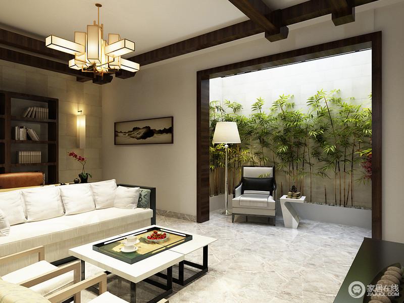 半开放式客厅可感受到室外的凉风,露天休息处被绿树环绕,摆一把单人椅,撑一盏灯,让户外生活也温暖袭人。