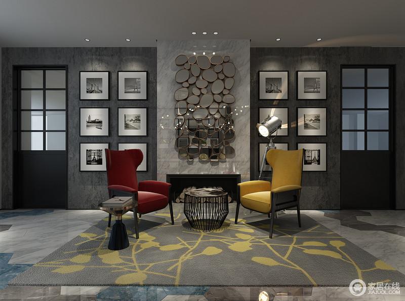 书房兼具会客功能,原本灰色调的空间张扬着法式时尚;壁炉的墙面被不规则圆形镜面装饰出前卫,与对称的黑白照片墙组成文雅;红色和黄色扶手椅因灰色黄花地毯显得魅力纷呈,铁艺圆几填工业静致。