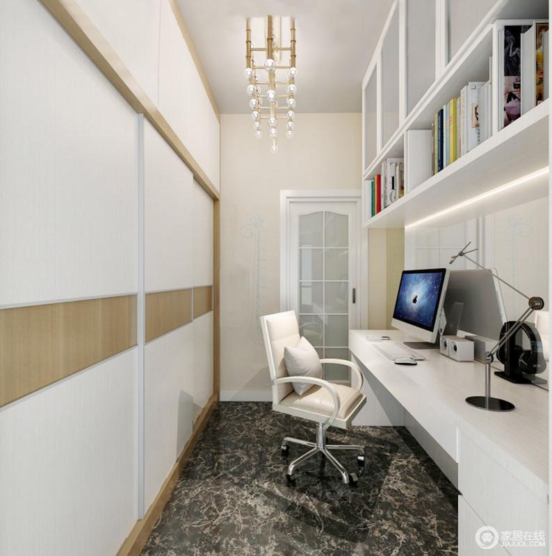 书柜虽然结构狭长,但是,设计师通过墙体悬挂式书柜将主人的书都收纳起来,而墙面定制得木衣柜着实实用;黑青色地砖搭配白色系家具、黄铜吊灯,无疑,为主人打造了一个够安静、温情的个人空间。