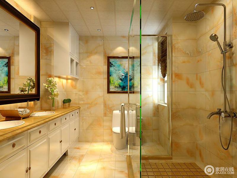 卫浴间角度暖色墙砖,温馨而不是洁净,干湿分区,让生活更为便捷。