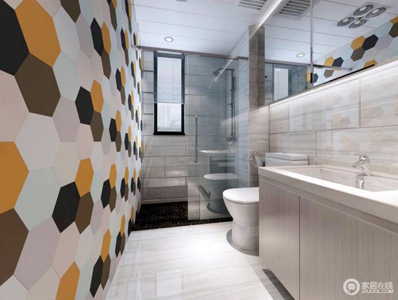 卫生间一字型格局设计更显流畅,米色砖石搭配墙面的多边形彩色砖,给予空间色彩活力,一改卫生间的沉静;干湿分离式设计,让生活更为方便,简洁舒适。