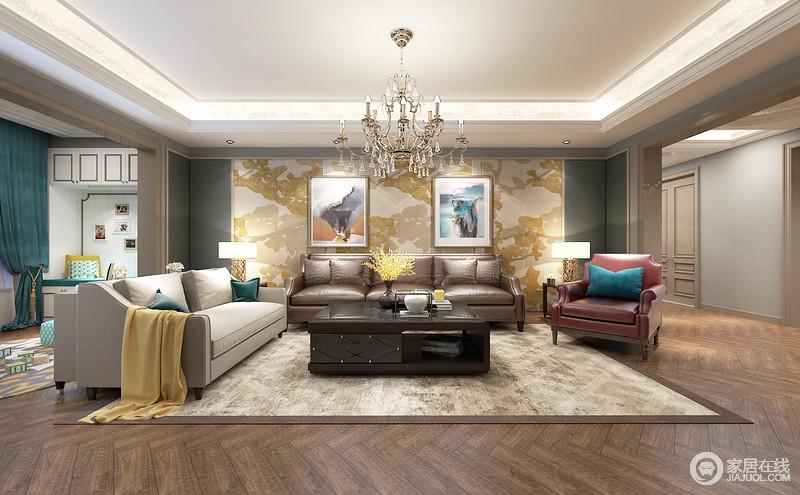 客厅沙发墙大幅壁画,色彩氲染间彰显出诗意;拼接的冰川灰中性配合,渲染空间氛围。米灰、绛红与棕褐色沙发系列,雅致而简约,空间流露出简明而富有美感的节奏。