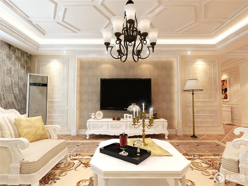 客厅以石膏将墙面做成了造型,并借用壁纸来起到装饰效果,深浅不一的壁纸,表达复古之美,而铁艺吊灯的黑白设计,无疑,成为整个空间的经典,与白色电视柜旁的落地灯组合出雅致。