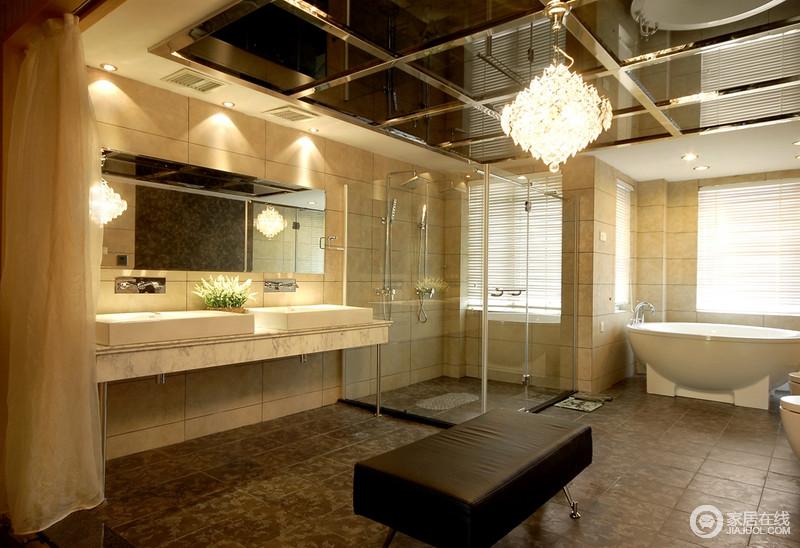 卫生间借墙体结构将干湿分区,让沐浴生活既多样又易于打理;吊顶的玻璃材质平滑光洁,水晶灯的璀璨与皮椅的现代构成精致,悬挂式盥洗台简洁利落,让生活格外贴心。
