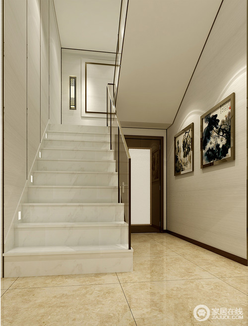 门厅地面铺了米色系方砖,与浅灰色壁纸中和出平静和素雅,水墨画的传统意蕴,让整个空间多了中式大气;楼梯白色理石的硬朗和质地更为精细,而墙面的几何效果让空间更有节奏感,再加上中式壁灯点缀其间,造就了中式新韵。